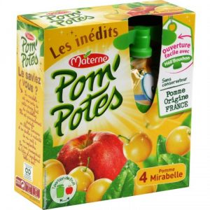 Compotes Pomme Mirabelle Pom'Potes Materne - My French Grocery