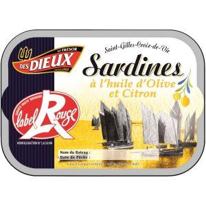 Sardines à L'Huile D'olive & Citron Label Rouge Le Trésor Des Dieux
